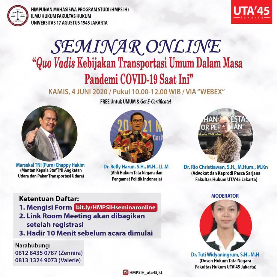 Quo Vadis Kebijakan Transportasi Umum Dalam Masa Pandemi Covid 19 Saat Ini Uta 45 Jakarta